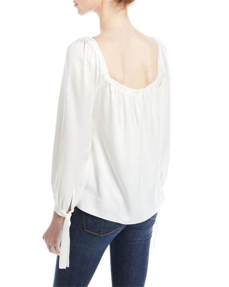 Rebecca Taylor Shirred Long-Sleeve Charmeuse Top