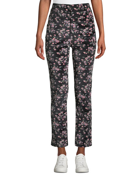 Rebecca Taylor Tilda Floral-Print Velvet Skinny Ankle Pants
