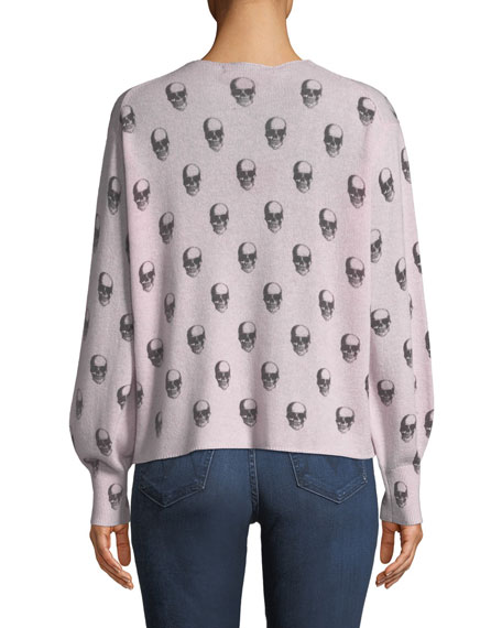 Penny Skull-Print V-Neck Cashmere Sweater