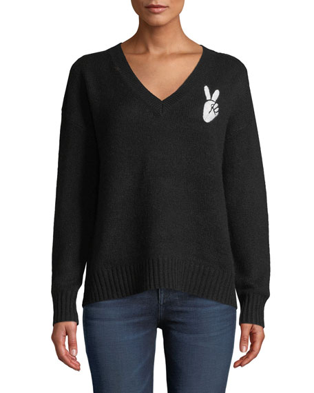 360 Sweater Wools LEA WOOL-CASHMERE EMBROIDERED PEACE-SIGN V-NECK SWEATER
