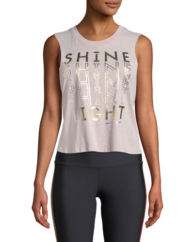 Shine Cropped Graphic Activewear Tank