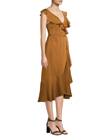 Fame and Partners Alexa Wrap Dress w/ Asymmetric Ruffle Hem