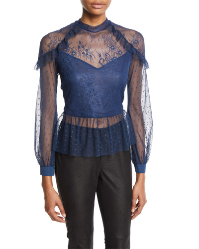 Splice Semisheer Mixed Lace Blouse