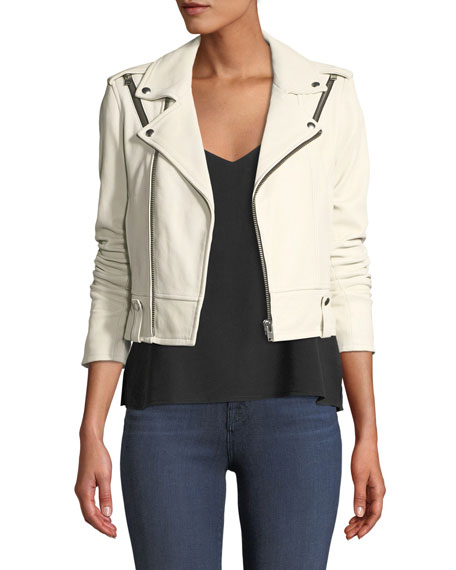 Ozark Zip-Front Semi-Fitted Lamb Jacket in White
