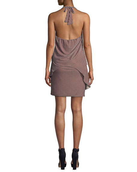 MISA Los Angeles Valere Striped Velvet Draped-Front Halter Dress