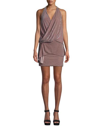 Valere Striped Velvet Draped-Front Halter Dress