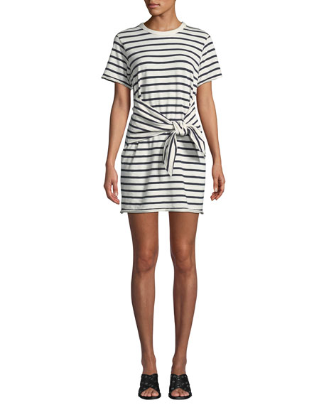 Rag & Bone Halsey Crewneck Tie-Neck Striped Cotton Dress