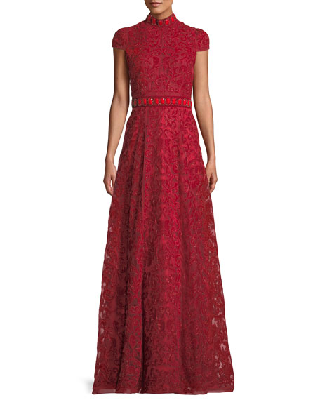 Alice + Olivia Nidia Embellished Velvet Mock-Neck Gown