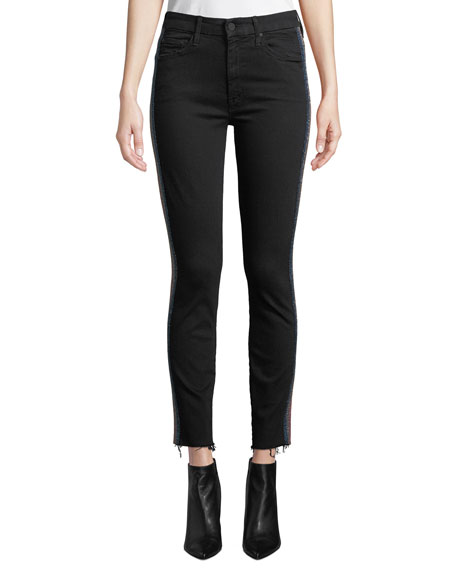 MOTHER Looker High-Waist Ankle Fray Skinny Jeans w/