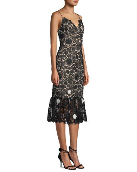 ML Monique Lhuillier Sleeveless Lace Dress w/ 3D Floral Details