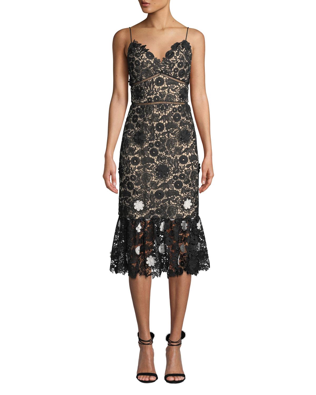 aa7ab2ed4c4 ML Monique Lhuillier Sleeveless Lace Dress w  3D Floral Details ...