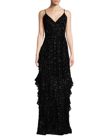 ML Monique Lhuillier Sleeveless Burnout Dress w/ Ruffle Skirt