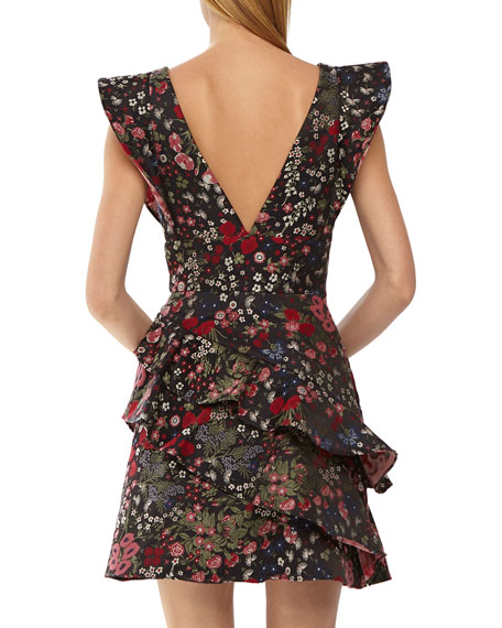 ML Monique Lhuillier Jacquard Mini Dress w/ Ruffles