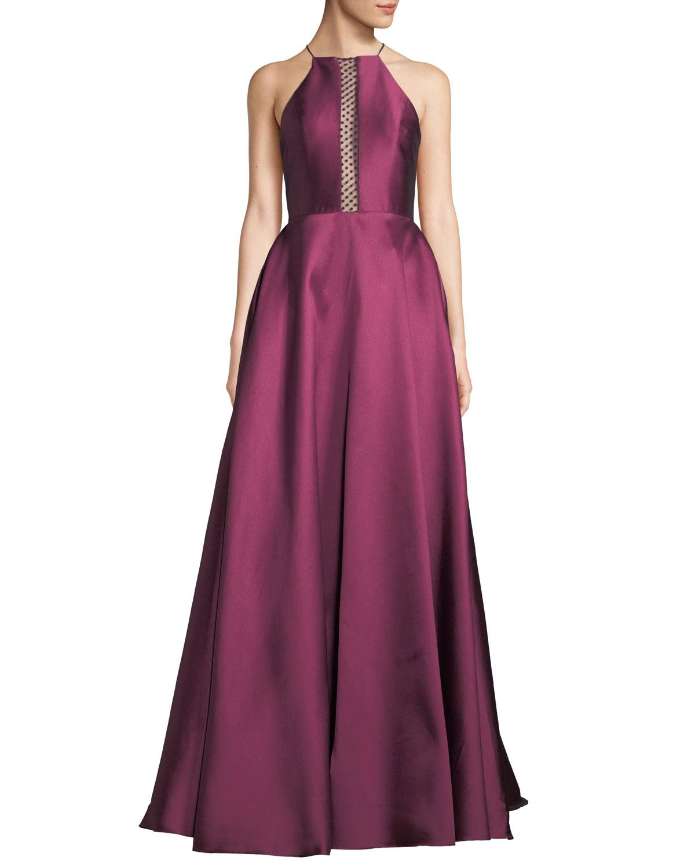 8d0d9e85cb5 ML Monique Lhuillier Halter Ball Gown w  Spotted Mesh