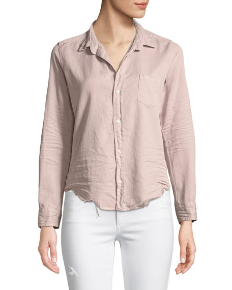 Frank & Eileen Barry Distressed Button-Front Cotton Shirt