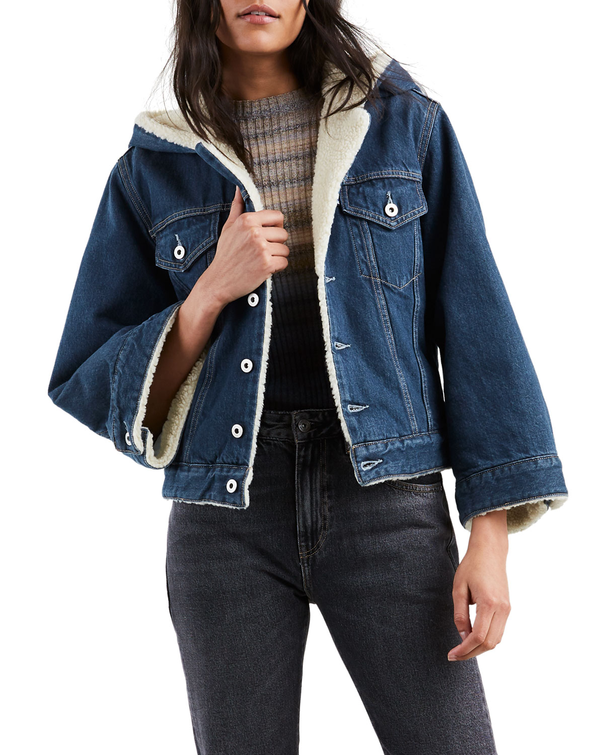 d82076bdee3 Levi s Made   Crafted Cropped Sherpa Hooded Denim Trucker Jacket ...