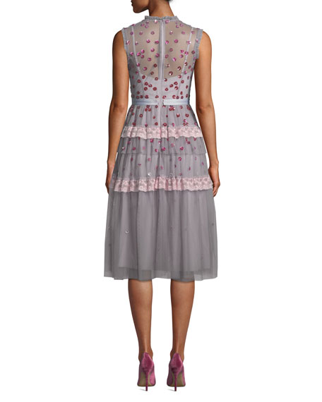 Image 2 of 3: Nova Sleeveless Floral-Applique Tulle Cocktail Midi Dress