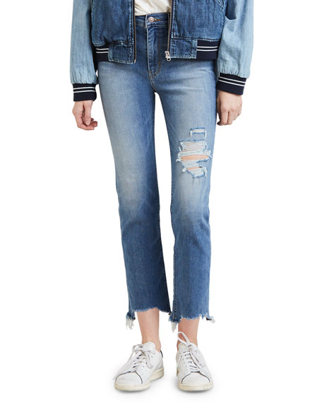 Levi's Premium 724 High-Rise Distressed Straight Cropped Jeans