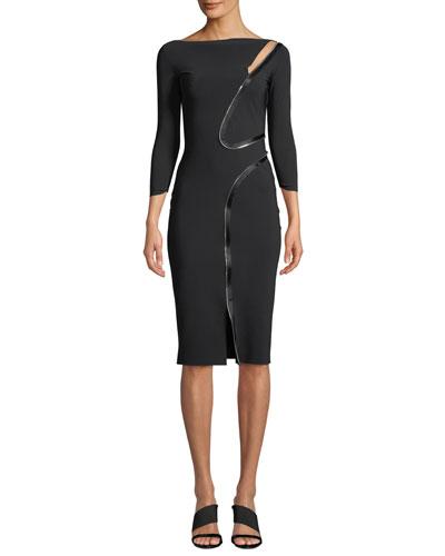 Asymmetric-Zip Body-Con Dress