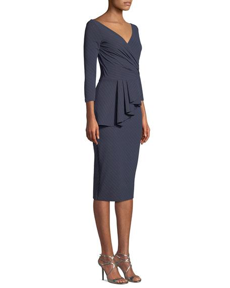 Ariane Pinstripe Peplum Wrap Dress