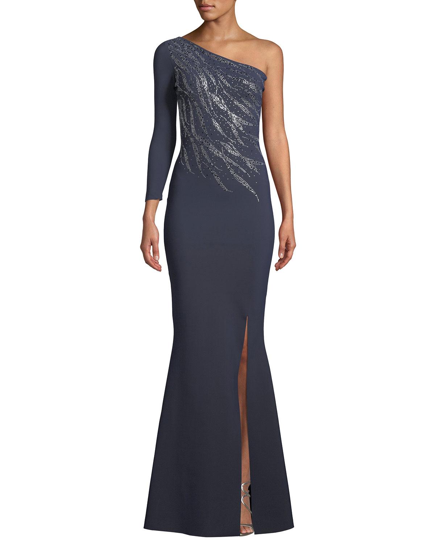 8941dd37877 Chiara Boni La Petite Robe Siobhan Metallic 1-Shoulder Gown