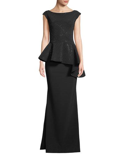 Etheline Beaded Cap-Sleeve Asymmetric Peplum-Waist Trumpet Evening Gown