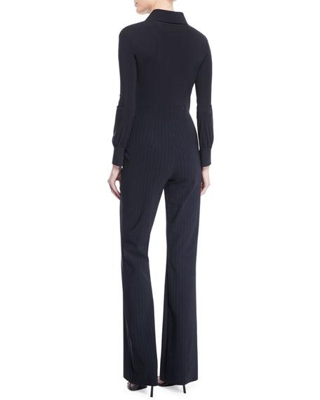 Chiara Boni La Petite Robe Yelena Pinstripe Collared Jumpsuit