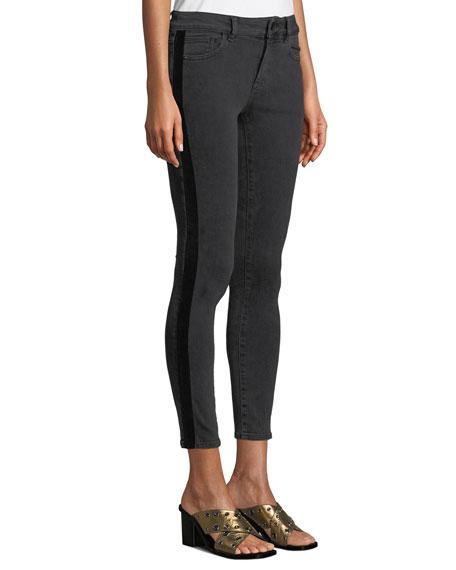 DL PREMIUM DENIM Margaux Side-Stripe Instasculpt Skinny Jeans in Black Pattern