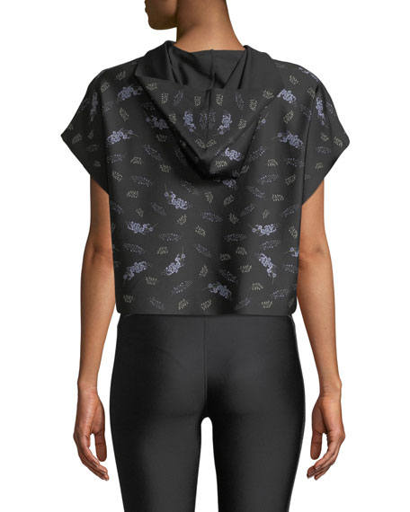 Ultracor Sparrow Lavender-Print Cropped Hooded Activewear Tee