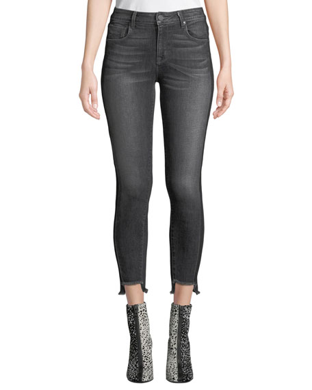 Twisted-Seam Cropped Skinny Jeans with Raw-Edge Step-Hem