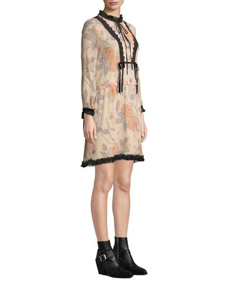 Coach Rose-Print Long-Sleeve Silk Short Dress