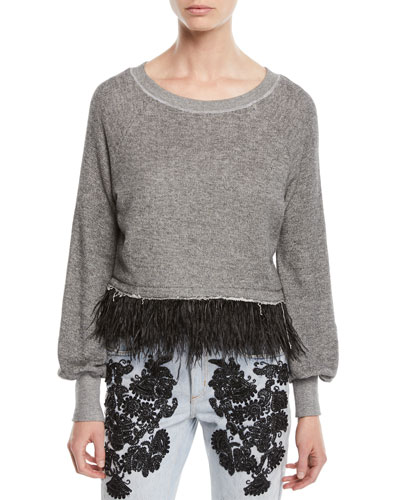 Super Fine Fringe Pullover Sweater w/ Feathers