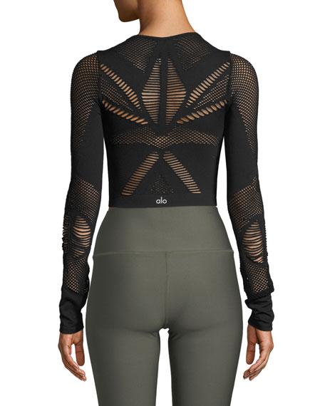 Alo Yoga Siren Long-Sleeve Mesh Performance Crop Top