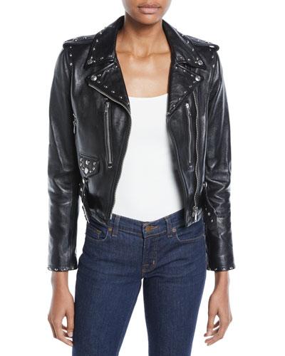 The Studded Cropped Leather Moto Jacket