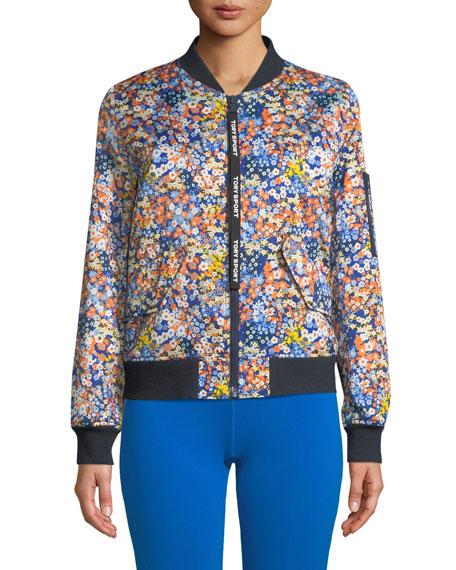 Tory Sport Satin Floral Print Bomber Jacket Neiman Marcus