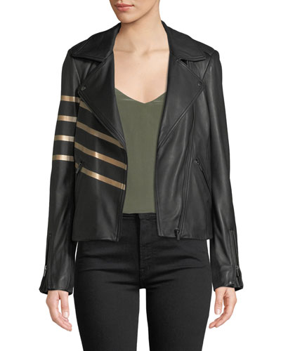 Asymmetric-Zip Leather Moto Jacket w/ Metallic Stripes