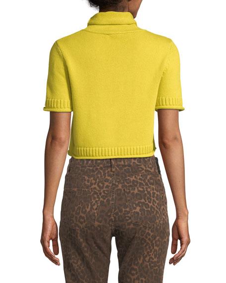 alexanderwang.t Cropped Turtleneck Short-Sleeve Sweater