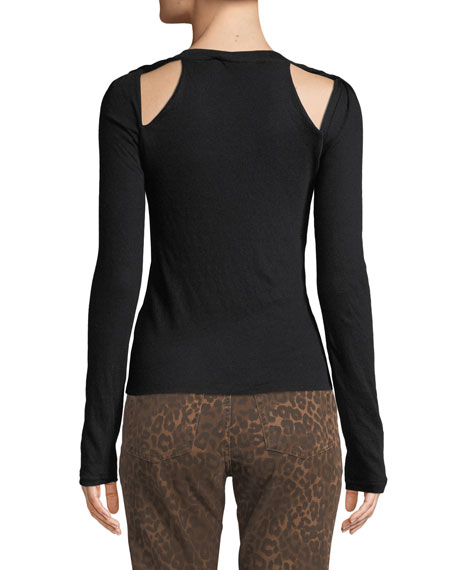 alexanderwang.t Fitted Twisted-Shoulder Cutout Sweater