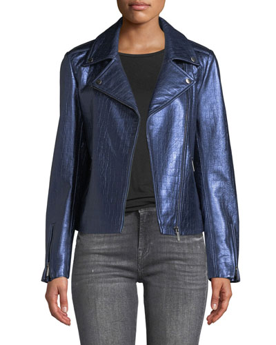 Snake-Textured Metallic Leather Moto Jacket