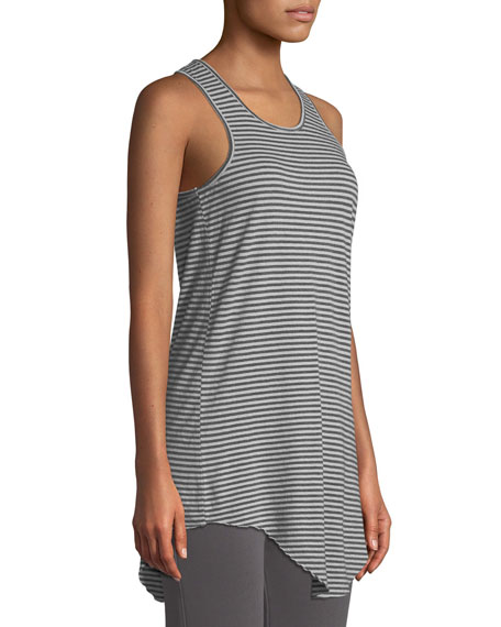 Frank & Eileen Tee Lab Long Layer Striped Scoop-Neck Tank