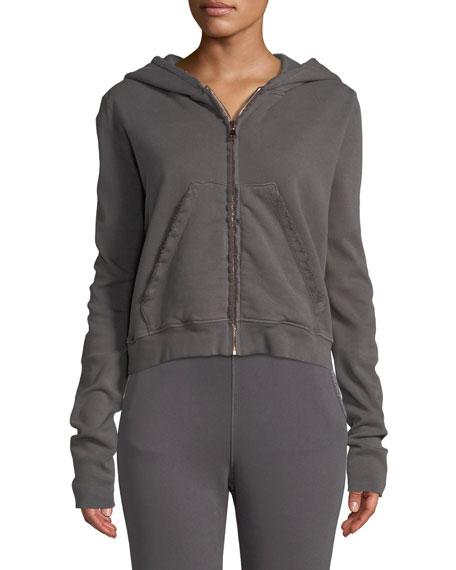 FRANK & EILEEN TEE LAB Cottons Distressed Fleece Zip Hoodie Sweatshirt Jacket