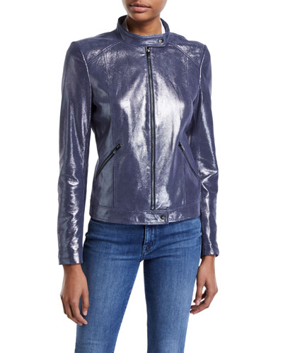 Center-Zip Iridescent Suede Jacket