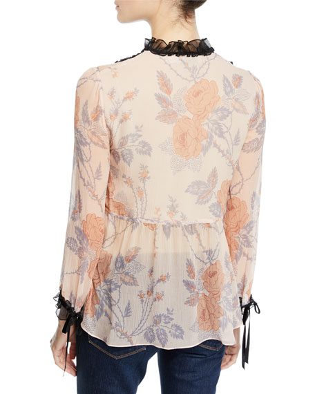 Coach Rose Print Silk Top