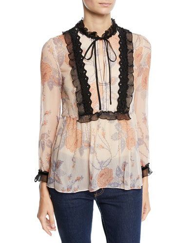 Rose Print Silk Top