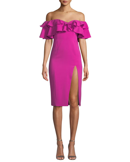 Jay Godfrey Prairie Off-the-Shoulder Dress w/ Ruffles