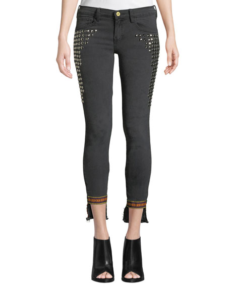 ETIENNE MARCEL Studded Step-Hem Skinny Jeans With Trim in Black Pattern