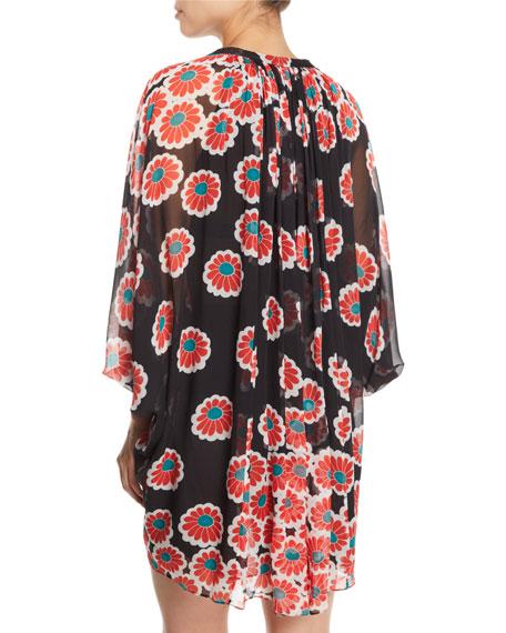 a313a3e5d7aab Image 2 of 2: Diane von Furstenberg Fleurette Floral Silk Shirred Coverup  Dress