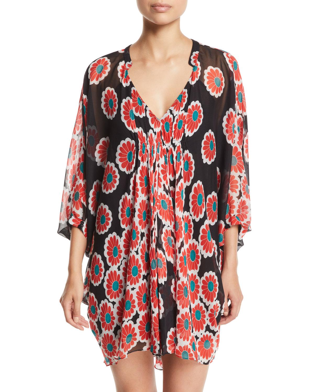 37dcc23e1dfe2 Diane von Furstenberg Fleurette Floral Silk Shirred Coverup Dress ...