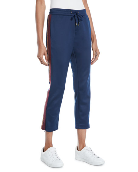 Pam & Gela Cropped Drawstring Sweatpants w/ Metallic Stripes