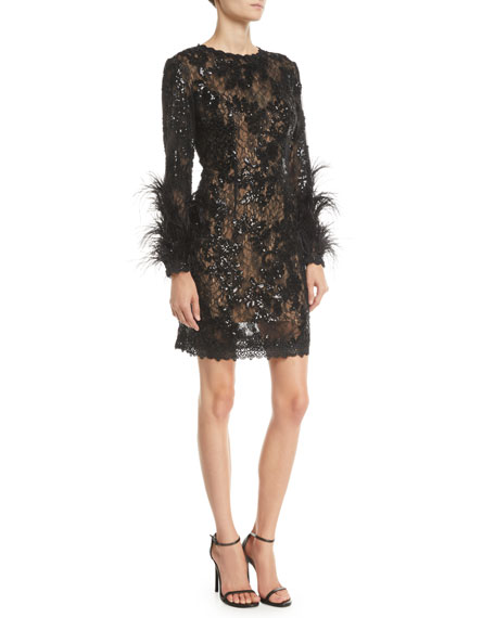 Sequin & Lace Dress w/ Feather Sleeves
